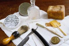 Hygiene Items: Example of personal items used during the era of the Civil War. Included in the picture are lye soap, a toothbrush, toothpaste, razor, combs, and a brush. (Photo Credit: Tria Giovan/CORBIS)