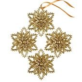 Holiday Lane Christmas Ornaments, Set of 4 Gold Snowflakes