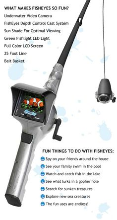 FishEyes Rod Reel with Underwater Video Camera - Cool Gadget, Spy Gear for Kids, Fishing Pole For Kids