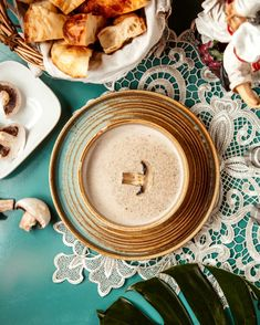 Top view of mushroom cream soup in a bowl #paid, , #SPONSORED, #sponsored, #mushroom, #bowl, #soup, #view Mushroom Cream Soup, Photography Backdrop Stand, Top View, Tea Lights, Backdrops, Stuffed Mushrooms, Candles, Plates, Tableware
