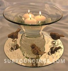Glass flared bubble bowl for floating candle centerpieces.