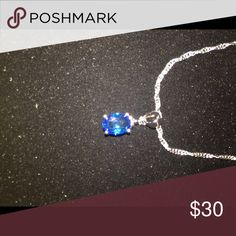 Blue sapphire necklace 16 inch sterling silver necklace. This gem shines bright in the sunlight . Jewelry Necklaces