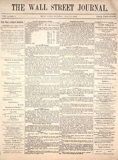 First issue: WSJ front page, July 8, 1889