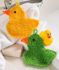 Bath time is rubber duckie time! So crochet these colorful ducks in any color you wish for some sudsy fun. They are easily kept clean by machine washing, and you'll love that this yarn dries more quickly than thick cotton cloths.