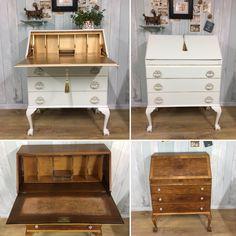Repainting Furniture, Hand Painted Furniture, Repurposed Furniture, Shabby Chic Desk, Shabby Chic Furniture, Desk Makeover, Furniture Makeover, Farrow Ball, Shirley Eaton