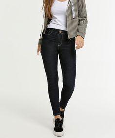 Calça Jeans Tradicional Feminina Alta com Lycra Azul Plus