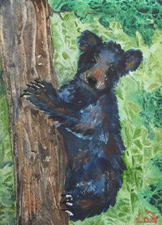 Black Bear Cub Painting. Original bear cub by CecileRancourtArt