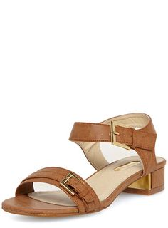 Tan block heel low sandals with gold detail