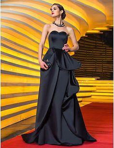 Vestido de Noche Negro de Satén @ Vestidos de Fiesta Baratos