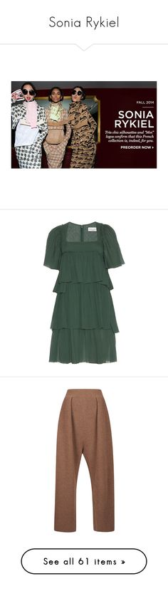 """Sonia Rykiel"" by lorika-borika on Polyvore featuring dresses, green, pleated dress, sonia rykiel, cotton dress, sonia rykiel dress, green cotton dress, pants, brown trousers и brown pants"