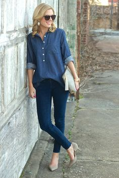 denim on denim outfit with touches of grey