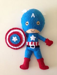 Super hero Captain America felt toy / doll for by LaLaLaDesigns