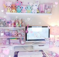 Cute and Kawaii Room Ideas for Your Daughters. Cute and Kawaii Room Ideas. The room is the most comfortable and private place in the world. In the room we can do our favorite activities from sleepi. Cute Room Ideas, Cute Room Decor, Pastel Room, Pink Room, Room Ideas Bedroom, Bedroom Decor, Pokemon Room, Kawaii Bedroom, Decor Room