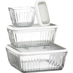Store your leftovers in these glass containers with glass lids (a strip of silicone seals them shut and prevents the loud clang of glass hitting glass). Stackable, and see-through, you can always easily find the chow you're looking for.