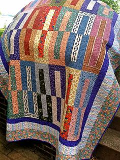 Bright and Cheerful Twin Size Quilt / Lap Quilt by DocksideDesigns