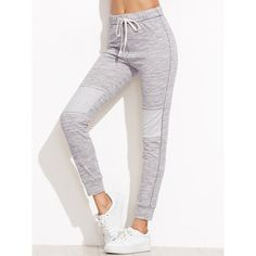 Heather Grey Drawstring Waist Skinny Sweatpants ❤ liked on Polyvore featuring activewear, activewear pants, grey, skinny fit sweatpants, super skinny sweatpants, grey sweatpants, grey sweat pants and gray sweatpants