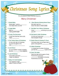 bb posted Christmas Song Lyrics fill-in-the blanks game. I bet this would bring some laughs! :) to their -christmas xmas ideas- postboard via the Juxtapost bookmarklet. Christmas Quiz, Christmas Trivia, Merry Christmas, Christmas Party Games, Christmas Activities, Christmas Printables, Family Christmas, Christmas Traditions, Winter Christmas