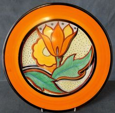 RARE EARLY ART DECO SUSIE COOPER HAND PAINTED WALL PLATE