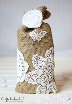 Shabby Chic Burlap & Lace Gift Bag