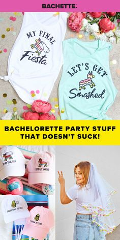 Bachelorette party stuff that doesn't suck! We have everything you need to make your day perfect & definitely NOT basic! #bacheloretteparty Bachelorette Party Themes, Bachelorette Party Shirts, Drink Floaties, Balloon Banner, Colorful Party, Bridal Flowers, Party Stuff, Perfect Party, Group