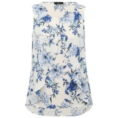 M&Co Floral Print Split Layer Top (1.860 RUB) ❤ liked on Polyvore featuring tops, ivory, sleeveless summer tops, floral print sleeveless top, sleeveless tops, layered sleeveless top and shell tops