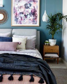 """Purple Haze' abstact art print by Kate Fisher in boho bedroom"