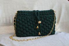 crochet t-shirt yarn green bag - Le borse di Lulù: Tracolla verde bosco