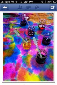 Food dye and eye dropper art