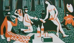 Claude Flight & Edith Lawrence, French Picnic  Linocut, 1936