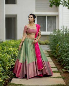 Get Customized Pattu Half Sarees For Best Price Here! Lehenga Designs, Lehenga Saree Design, Half Saree Lehenga, Pattu Saree Blouse Designs, Half Saree Designs, Lehnga Dress, Choli Designs, Saree Blouse Patterns, Wedding Saree Blouse Designs