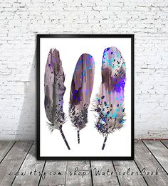 Sand Feathers 3 , Feather Art, Watercolor Print, Art Home Decor, animal watercolor, watercolor painting, Feather poster, Feather watercolor...