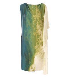 Silk Asymmetric Sleeve Dress by bottega-veneta. Cream, blue and green dress. #Matchesfashion
