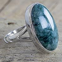 Discover unique handcrafted treasures. Every purchase will help UNICEF save and improve children's lives and help support talented artisans. Jade cocktail ring, 'Green Maya Royalty'