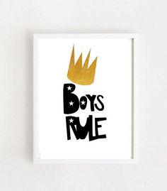 Boys Rule Printable Art Boys Rule Sign Nursery Wall Art Nursery Prints, Nursery Wall Art, Printable Art, Printables, Scandinavian Nursery, Nursery Signs, Boys, Handmade Gifts, Vintage