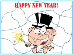 Happy New Year Baby Jigsaw puzzle http://www.kidscanhavefun.com/new-years-activities.htm #newyear #puzzle