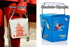 Chinese Takeout Boxes Hit Fashion Month's Sweet (and Sour) Spot.  Photos (L-R): Imaxtree, Charlotte Olympia