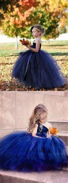 650553428e8764 One Shoulder Navy Blue Tulle Ball Gown Flower Girl Dresses