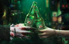 Heineken Halloween 2018 campaign for Japan Creative Advertising, Advertising Signs, Saga, Halloween 2020, Good Company, Rescue Dogs, Beer Bottle, Packaging Design, Alcoholic Drinks