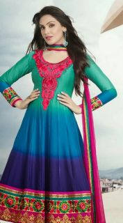 Glow like a beautiful flower this this pretty georgette dress with colors of sea green, light blue, navi blue and pink. Exquisite embroidery on chest, hem and sleeves of dress. This dress is for the pari with attitude and style.   * All stitched suits can be customized. Once order is confirmed for stitched suit, we will contact you via email for custom sizing details.  2 Days Shipping from New York.  Eligible for FREE SHIPPING.