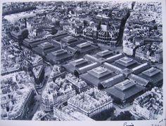 Vue aérienne de Paris : Les Halles centrales, 1er arrondissement, Paris. | Paris Musées