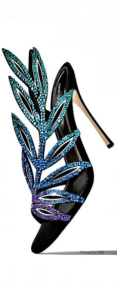 Rossi | LBV ♥. I adore these peacock shades in these stunning heels.