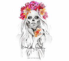 La encantadora ilustración de moda de Kelly Smith | Lady of the dead #illustration #girls