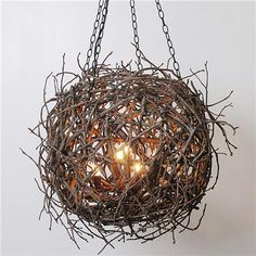 Twig Sphere Chandelier --> DIY with driftwood