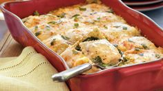 Frozen cheese-filled ravioli brings this lasagna to the dinner table in 45 minutes - a spin on the Italian classic featuring spinach, pesto and jarred Alfredo sauce.