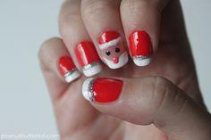 santa claus manicure, christmas manicure, DIY christmas nails, santa face manicure instructions, how to do a santa manicure, peanut buttered blog  http://miascollection.com