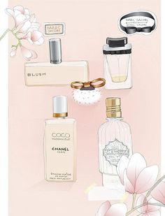 soft , pink , woman , parfum , illustration , make-up , flowers , lelie