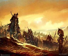 Drogo's enormous khalasar - by Tomasz Jedruszek. A khalasar is a nomadic horde of Dothraki led by a chief called a khal.
