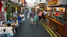 Eat, drink and be very merry Go for local fare at Chinatown Food Street or check out the trendier eateries and bars along Neil Road, Duxton Road and Keong Saik Road. If you're a foodie, try 'char kway teow' (stir-fried noodles) and 'satay' (barbecued meat skewers) at Chinatown Food Street, a row of hawker stalls, shophouse restaurants and kiosks along Smith Street.