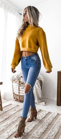 #summer #outfits Yellow Crop Top + Destroyed Skinny Jeans