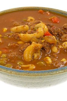 Ground Beef and Macaroni Soup Recipe with Oregano, Basil, Onion Soup Mix, Tomato Sauce, Soy Sauce, Celery, Carrots, Peas, and Elbow Macaroni